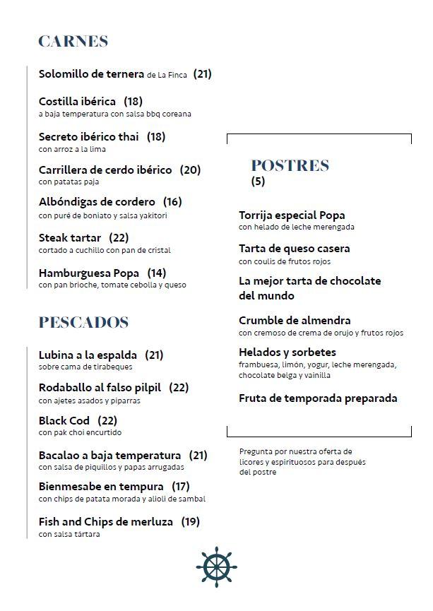 Carta restaurante POPA